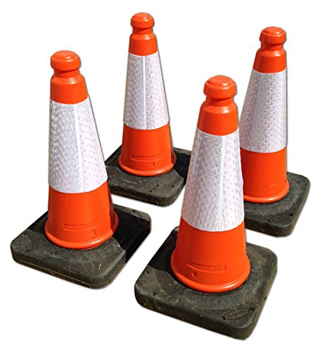 TRAFFIC CONES - Pack of 4, Highwayman cones with reflective strips and weighted bases. Height 500mm Learning with Linden Ltd