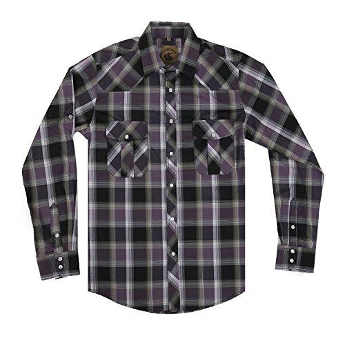 Men's Casual Long Sleeve Plaid Shirt with Pearl Snaps (Purple/ Black #1, L) (Striped Black Shirt Purple)
