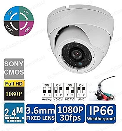 white 3.6mm lens analog security IR dome camera 2 megapixel 1080P HD-TVI