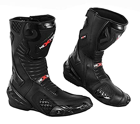 Red /& Black 2016 Nextek Genuine Leather Motorbike Motorcycle Armoured Boots Long High Ankle Protection RASING Shoes Sports Cruising Touring UK 8//EU 42