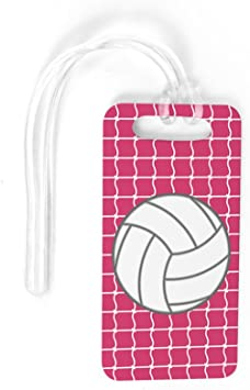 PINK SMALL Volleyball Luggage /& Bag Tag Volleyball Net Pattern Custom Info on Back