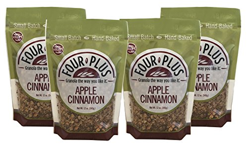 Kelly's Four Plus Apple Cinnamon Granola, 12 oz, 4 count The Best Tasting All-Natural Healthy Apple Cinnamon Granola Cereal. Best Granola for Yogurt Topping, Breakfast. Crunchy Honey Maple Syrup Oats