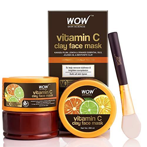WOW Skin Science Vitamin C Glow Clay Face Mask with Lemon & Orange Essential Oils, Jojoba Oil & Bentonite Clay – For All…