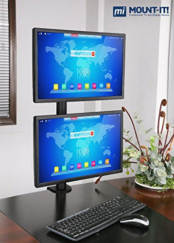 Mount-It! Dual Vertical Monitor Desk Mount, Vertical Array Fits 17 20 24 27 LCD LED Computer Screens, VESA 75x75 100x100, Black (MI-768)