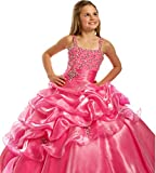 BFB Flower Girls' Prom Ball Gown Floor Length Wedding Pageant Dresses (8, Watermelon)