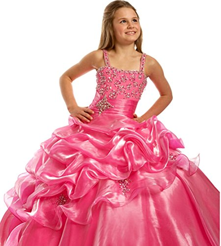 BFB Flower Girls' Prom Ball Gown Floor Length Wedding Pageant Dresses (8, Watermelon) by Baifenbailianren