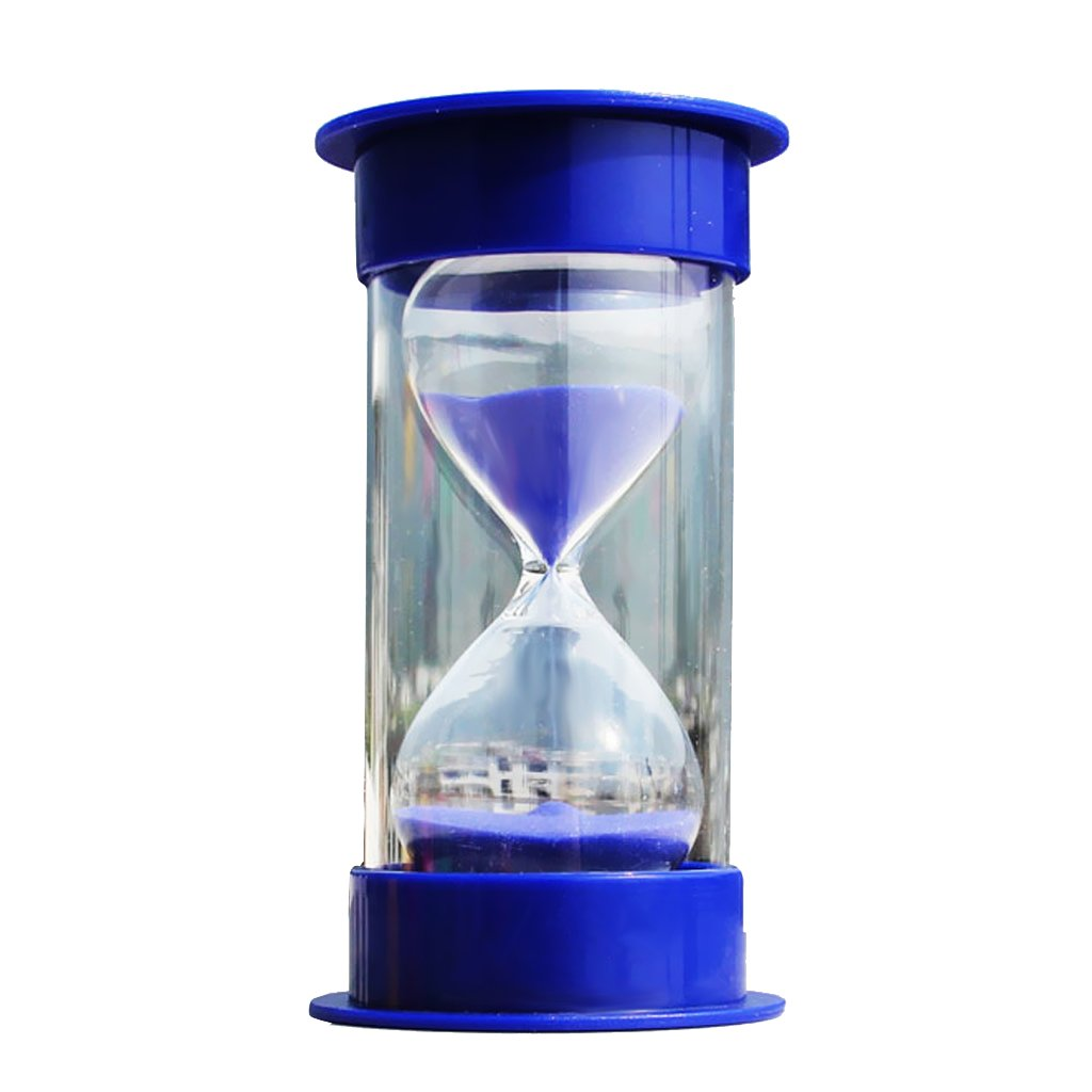 MagiDeal 10 Minutes Hourglass Timer Blue Lid & Sand STK0157001619