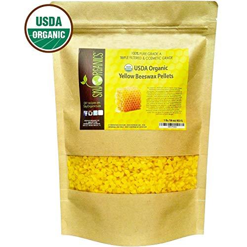 Sky Organics USDA Organic Yellow Beeswax Pellets (1lb) Pure Bees Wax No Toxic Pesticides or...