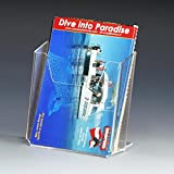 Literature Holder Made Of Clear Acrylic Dispenses 4 x 6-inch Postcards, 4-1/2 x 1-3/4 x 4-1/2-Inch, Countertop Use, Notched Front, Slant-back - Sold In Sets Of 12