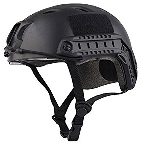 TOOGOO(R)Military Army Tactical Series Airsoft Paintball Hunting CQB Shooting Climbing Gear Combat Fast Helmet Base Jump BJ Type with Goggle Black by TOOGOO(R)