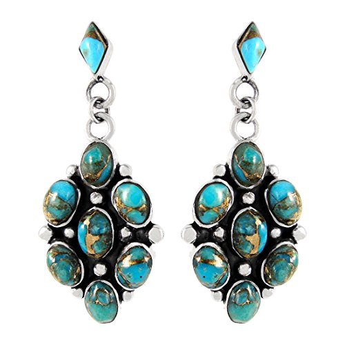 Turquoise Earrings 925 Sterling Silver & Genuine Copper-Infused Matrix Turquoise (Select style) (Cluster ()