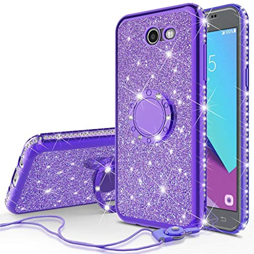 - for Samsung Galaxy J7 2017 Sky Pro/ J7 Prime/ J7V/ SMJ727/ Perx/Halo 2017 Cute Girls Glitter Bling Sparkle Diamond Studded Protective Flexible TPU Shockproof Ring Stand Air Cushion Cover (Purple)
