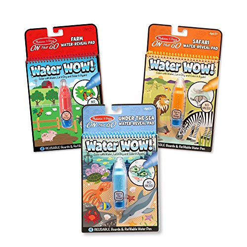 Melissa & Doug Water Wow! 3-Pack (The Original Reusable Water-Reveal Coloring Books - Farm, Safari, Under the