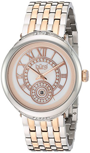 Burgi Women's White Mother-of-Pearl Dial with Swarovski Crystal Accented Bezel and Two-Tone Stainless Steel Bracelet Watch BUR164TTR