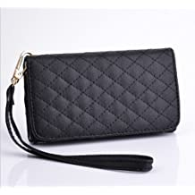 Big Mango Fashion Multipurpose Diamond Lattice Cell Phone PU Leather Pouch / Wallet Case with Cover for Samsung Galaxy S3 i9300 Galaxy S4 i9500 with Multiple Card Slots & Detachable Wristlet & Safe Snap Button Closure - Black