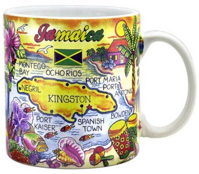 "Jamaica Map Caribbean Souvenir Collectible Large Coffee Mug (4""H x 3.75""D) 16oz"