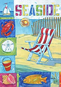 "Seaside Beach Summer House Flag Beach Chair Sailboat 28"" x 40"" Briarwood Lane"