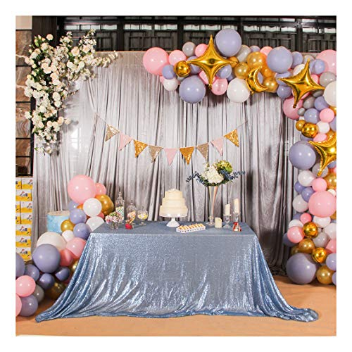 Poise3EHome 50×72'' Rectangle Sequin Tablecloth for Party Cake Dessert Table Exhibition Events, Baby Blue ()