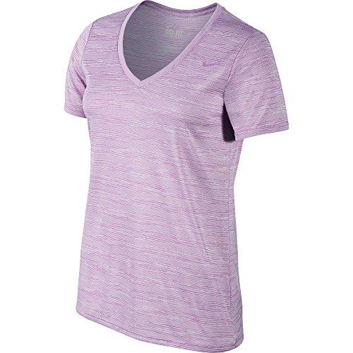 New Nike Women's Legend V-Neck Veneer Short-Sleeve Shirt Violet Shock/Violet Shock Large