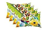 RSH Decor Set of 4 Indoor/Outdoor Decorative Lumbar/Rectangle Pillows - Lensing Garden Navy Blue Red Teal Green Aqua Orange Yellow Floral