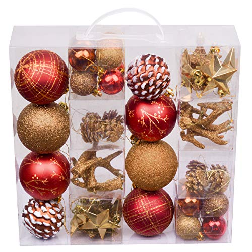 Valery Madelyn 50ct Woodland Shatterproof Christmas Ball Ornaments Decoration Red Brown, Themed with Tree Skirt(Not Included) (Ornaments Christmas)