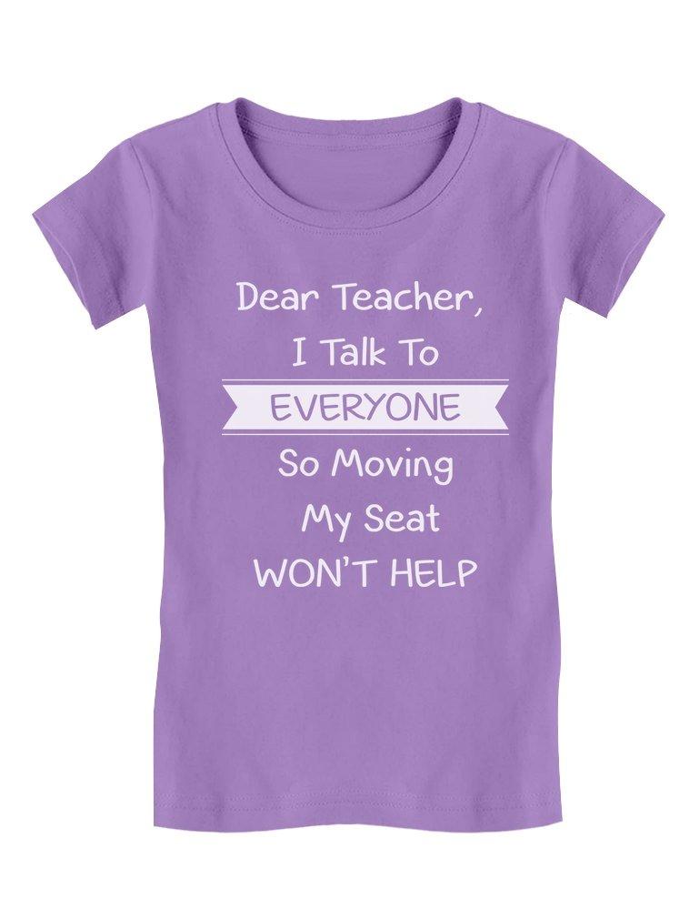 Tstars Dear Teacher I Talk to Everyone Funny School Girls' Fitted Kids T-Shirt M (7/8) Lavender