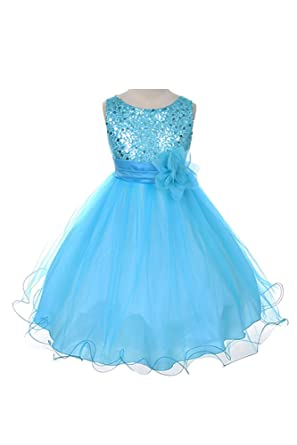 c38719a7a7d32 Image Unavailable. Image not available for. Color: Flower Girl Dress - Aqua  Sequin Double Mesh ...
