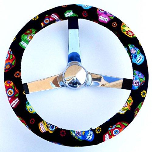 (Mana Trading Handmade Steering Wheel Cover Tossed Sugar Skulls)