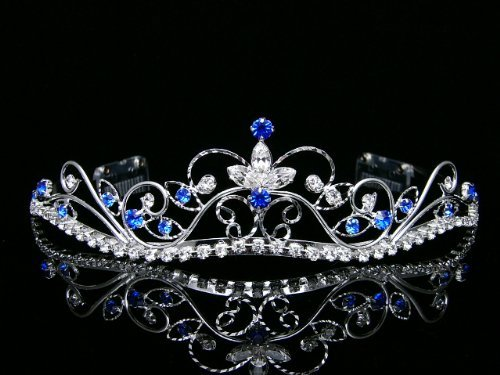 Rhinestone Crystal Flower Prom Bridal Wedding Crown Tiara - Royal / Dark Blue Crystals Silver Plating by Venus Jewelry SAMKY-T377
