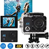 Hongfei (white) Action Camera, 4K Ultra HD Waterproof Sport Camera 2 Inch LCD Screen 12MP 90 Degree Wide Angle