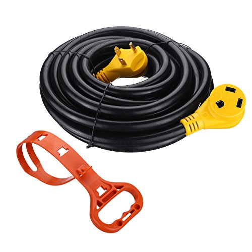 Miady 30ft 30Amp Heavy Duty RV Extension Cord, Easy Unplug Design with Cord Organizer, 10 Gauge