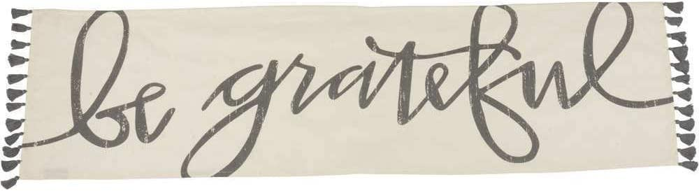 Primitives by Kathy Hand-Lettered Table Runner, 56 x 15-Inches, Be Grateful