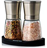 Salt and Pepper Mills with Silicon Stand (2 pcs) - Premium Set of Salt and Peppercorn Grinders with Adjustable Ceramic Coarseness - Brushed Stainless Steel and Glass Body Shakers