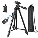 Photo : Eocean 50-Inch Tripod, Aluminum iPhone Tripod, Video Tripod for Cellphone and Camera, Universal Tripod + Bluetooth Remote + Cellphone Holder Mount for iPhone, Samsung, etc.