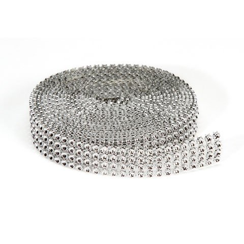 (4 Row Silver Bling on a Roll Rhinestone Diamond Ribbon Ideal for Wedding Decoration, Birthday Cakes, Arts & Crafts, Napkins Holders and Wherever You Want to put that Extra Sparkle!- 3 Yards per roll )