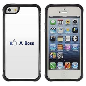 CASSO Cases / Apple Iphone 5 / 5S / LIKE A BOSS FUNNY - FB / Robusto Prueba de choques Caso Billetera cubierta Shell Armor Funda Case Cover Slim Armor