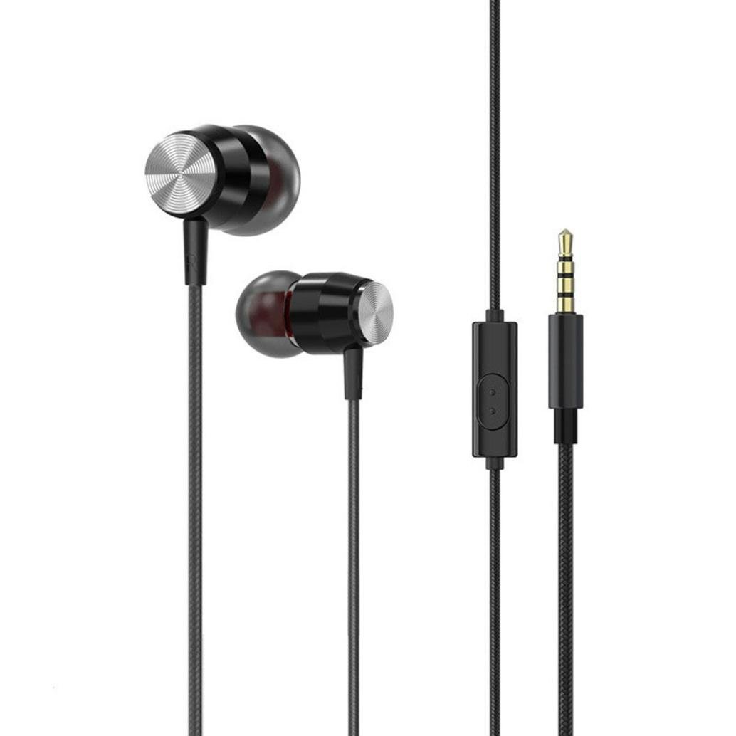 Sunfei 3.5mm With Microphone Bass Stereo In-Ear Earphones Headphones Headset Earbuds (❤️Black❤️)