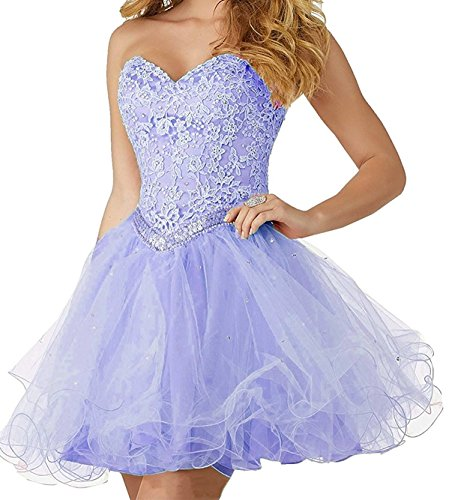 Party Ball L Girls Prom Lavender Tulle Lace D Stunning Gown Short Dresses Sweetheart Formal wYxgavqYUT