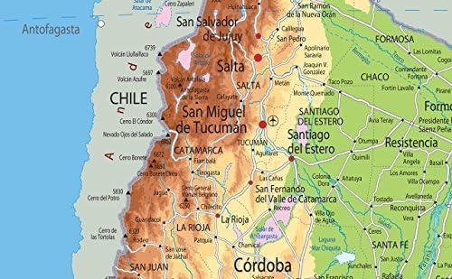 Argentina mapa física – papel laminado [ga] A0 Size 84.1 x 118.9 cm: Amazon.es: Oficina y papelería