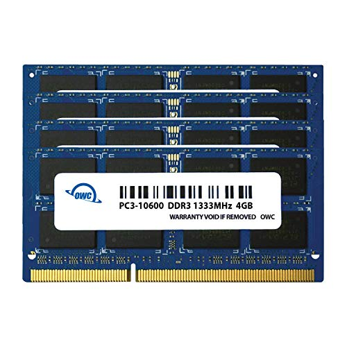- OWC 16.0GB (4X 4GB) 1333MHz 204-Pin DDR3 SO-DIMM PC3-10600 CL9 Memory Upgrade Kit for iMac, (OWC1333DDR3S16S)