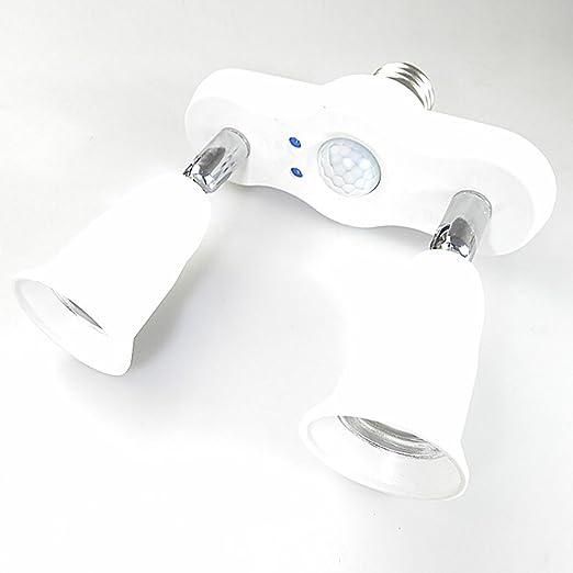 Outgeek 2 En 1 Divisor del Zócalo De La Luz De La Bombilla Sensor De Movimiento Infrarrojo Inclinable Ajustable E27 ...