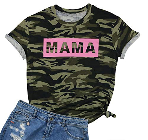 EGELEXY Women's Camo Camouflage T Shirt Mama Letters Print Tops Tee Short Sleeve Mom Mother's Gift Size M (Camouflage)