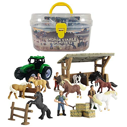 GreenKidz Horse Toys Stable Playset with Portable Case Take Along Horse Gift Set for Boys and Girls Party Supplies Collection of 8 Realistic World Famous Horses Figures Stall Tractor and Accessories
