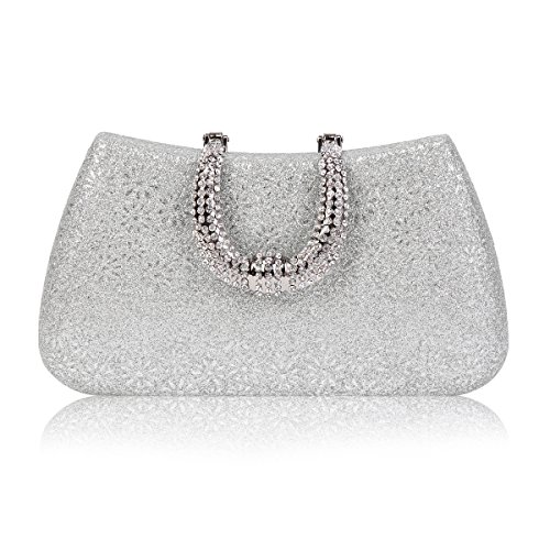 Damara Womens Rhinestones Clasp Hardcase Embossed Evening Party Bag,Silver ()