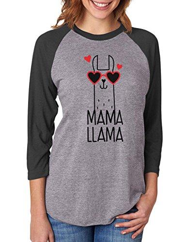 Mama Llama Gift for Mother Cute 3/4 Women Sleeve Baseball Jersey Shirt X-Large Black/Gray