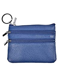 Yeeasy Womens Mini Coin Purse Wallet Genuine Leather Zipper Pouch with Key Ring (Blue)