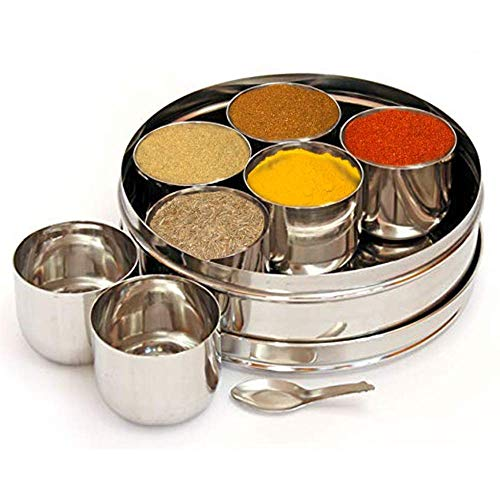 Stainless Steel Round Spices Box Kitchen Masala Dabba 7 Compartments, 7.3 Inch (Silver), Easter Day/Mothers Day/Good Friday Gift