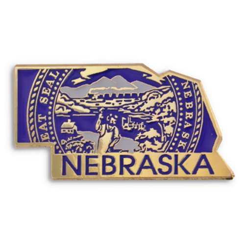 (PinMart State Shape of Nebraska and Nebraska Flag Lapel Pin)