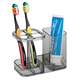 Bathroom Design Gray Cabinet mDesign Bathroom Medicine Cabinet Organizer, Toothbrush and Toothpaste Holder - Smoke Gray