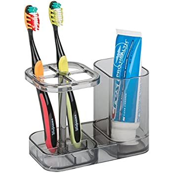 mDesign Bathroom Vanity Countertop Toothpaste & Toothbrush Holder Stand with Cup/Dental Center, Holds Electric Toothbrushes - BPA Free - Smoke Gray